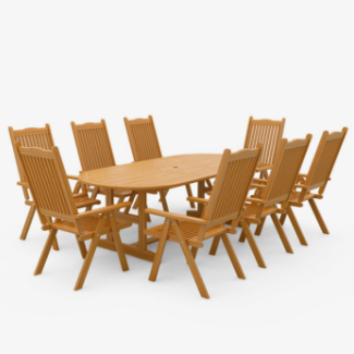 Windsor 1.8m Extending 2.3m Folding Wooden Oval Outdoor Dining Set- 6 -8 Seater Set