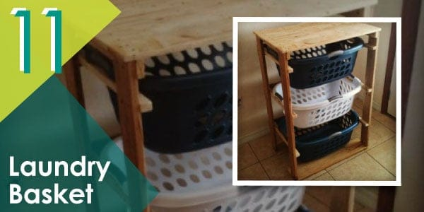 Make your laundry neat and tidy with this pallet laundry basket organiser.