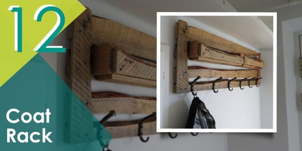Create more storage around your home with this pallet coat rack.
