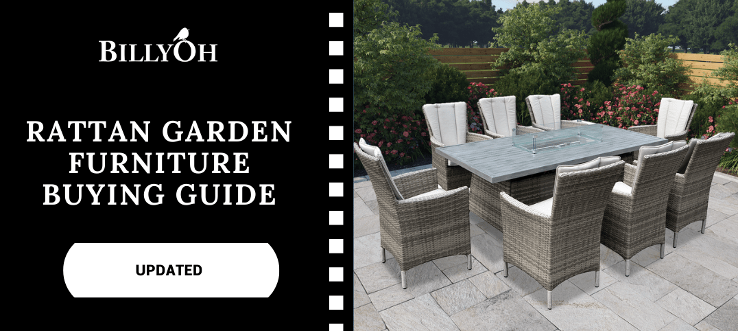 Rattan Garden Furniture Buying Guide with long 8-seater fire pit table