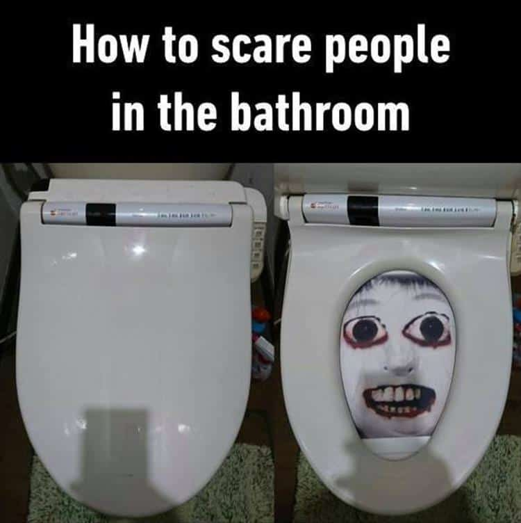 april fools prank - bathroom scare
