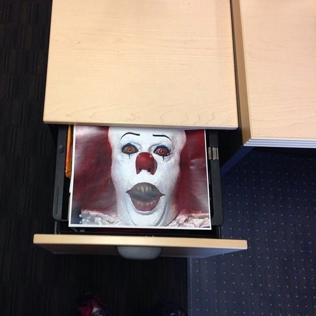 april fools prank - clown in the drawer