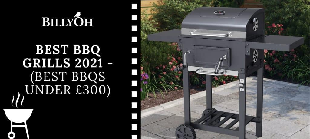 BillyOh Kentucky Smoker on a patio with 'Best BBQs Under £300' banner and BillyOh logo