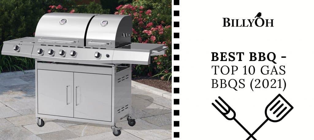 BillyOh Dallas Silver 5 Burner Gas BBQ on patio with 'Best Gas BBQs' banner with BillyOh Logo