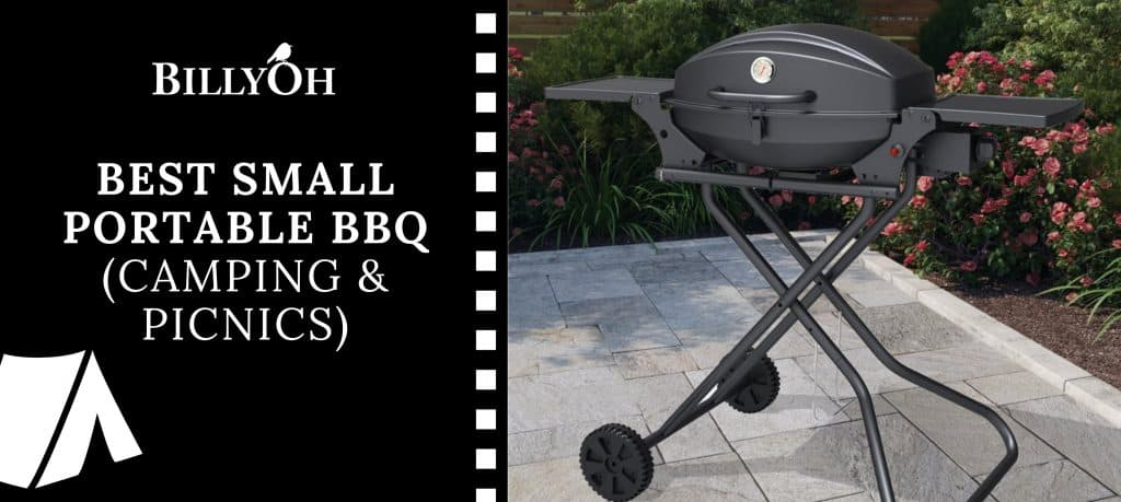 BillyOh Tennessee Portable BBq with 'Best Small Portable BBQ' banner and BillyOh logo