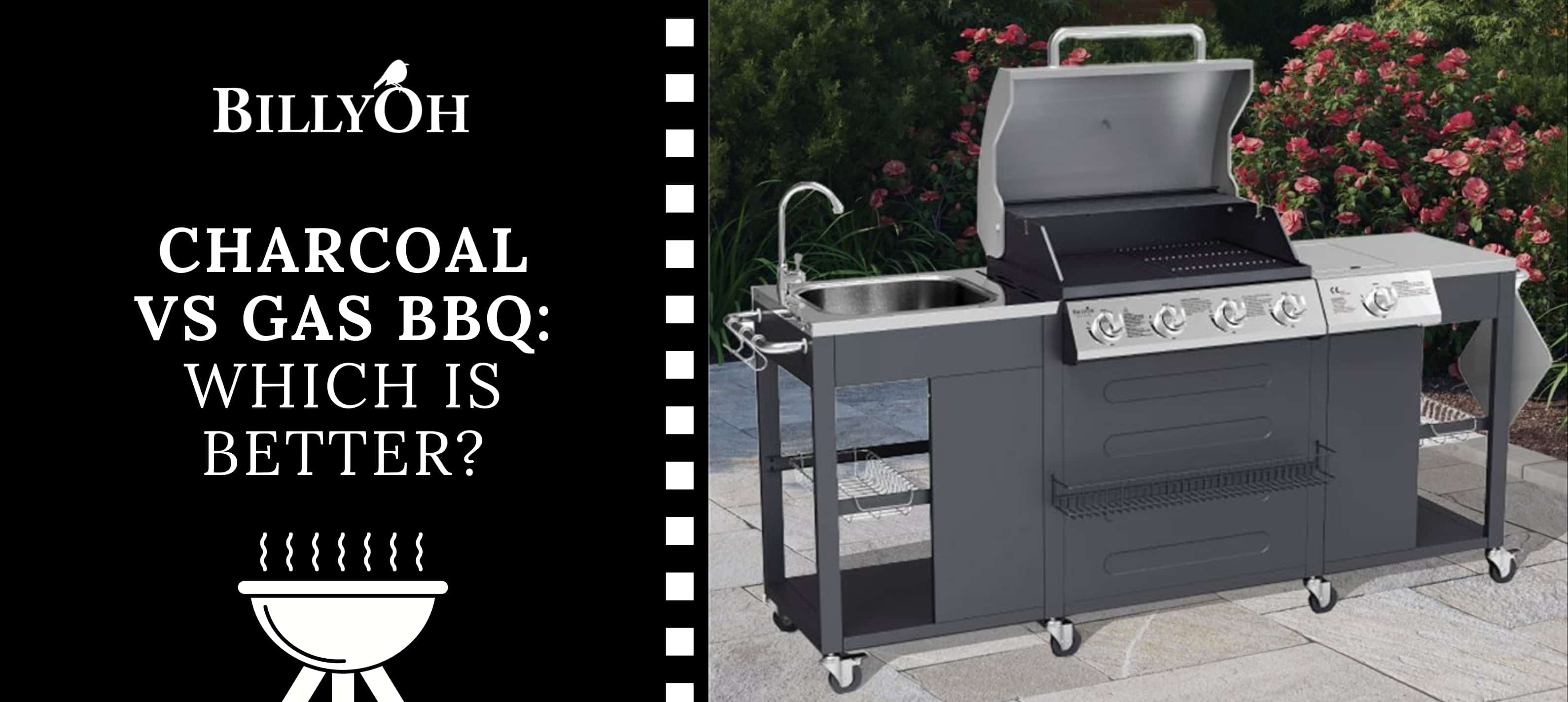 BillyOh Alabama Gas BBQ with 'Charcoal vs Gas BBQ ' banner with BillyOh logo