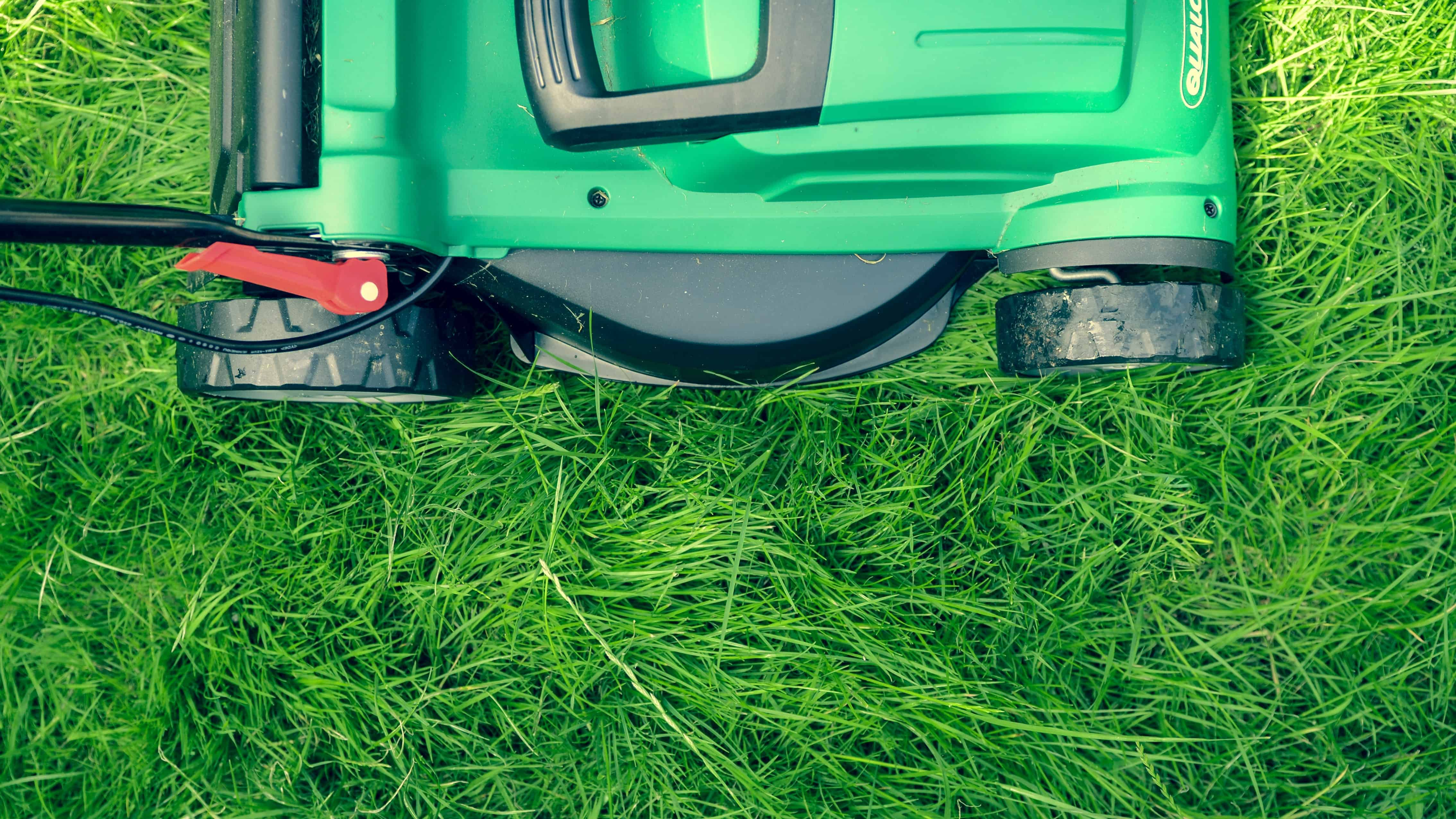 aerial view of a lawnmower on grass