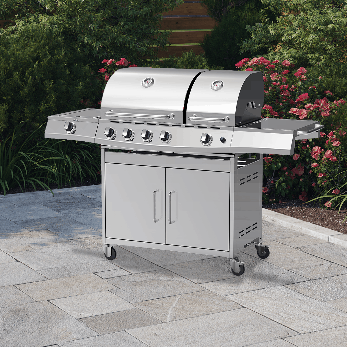BillyOh Stainless Steel Dallas 5 burner Gas BBQ on patio