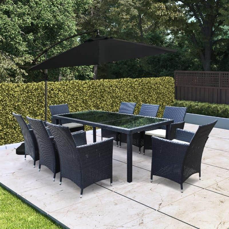 BillyOh Siena 8 Seater Rectangular Outdoor Black Rattan Dining Set Inc Cushions