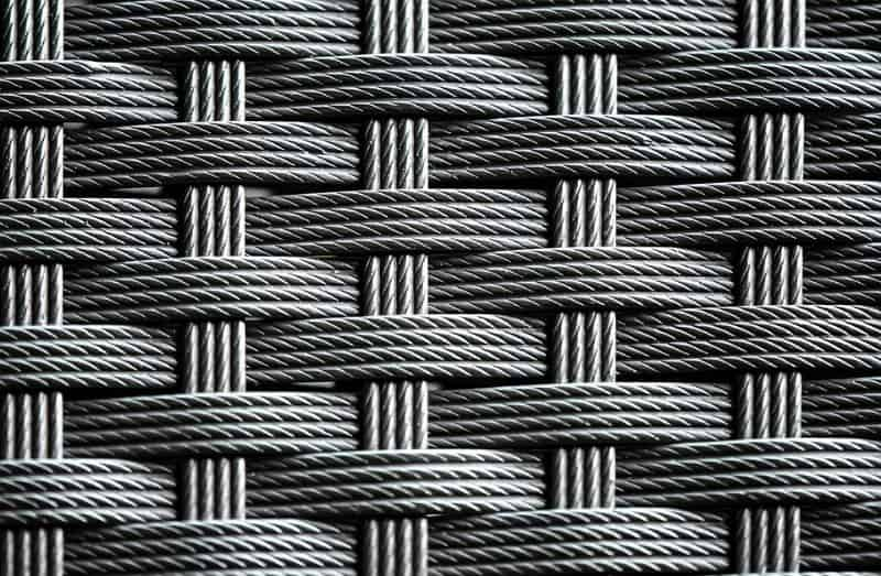 close-up of synthetic rattan weave in dark grey