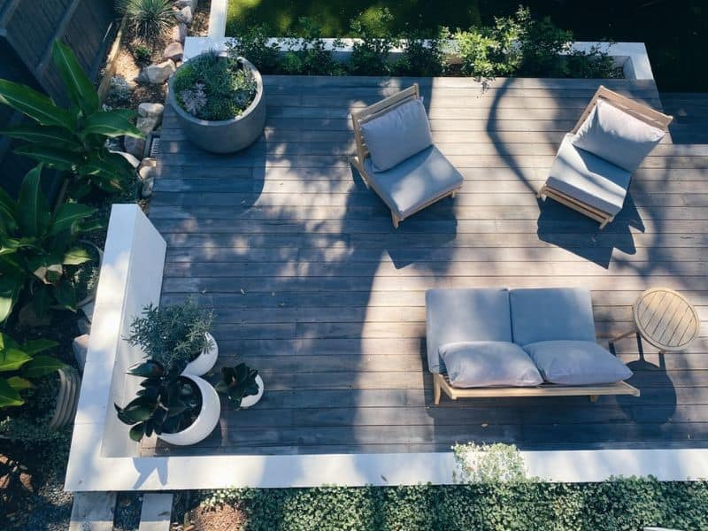 garden furniture aerial view on decking