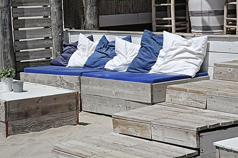 Deck seating with protective cushions