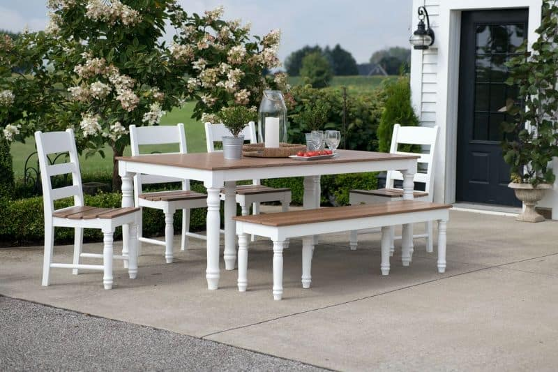 white and wood patio furniture outside