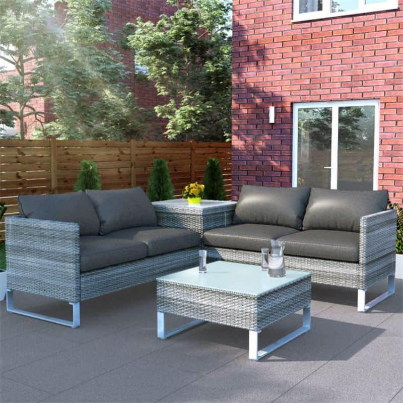 BillyOh Salerno 4 Seater Outdoor Rattan Garden Furniture Corner Sofa Set With Storage