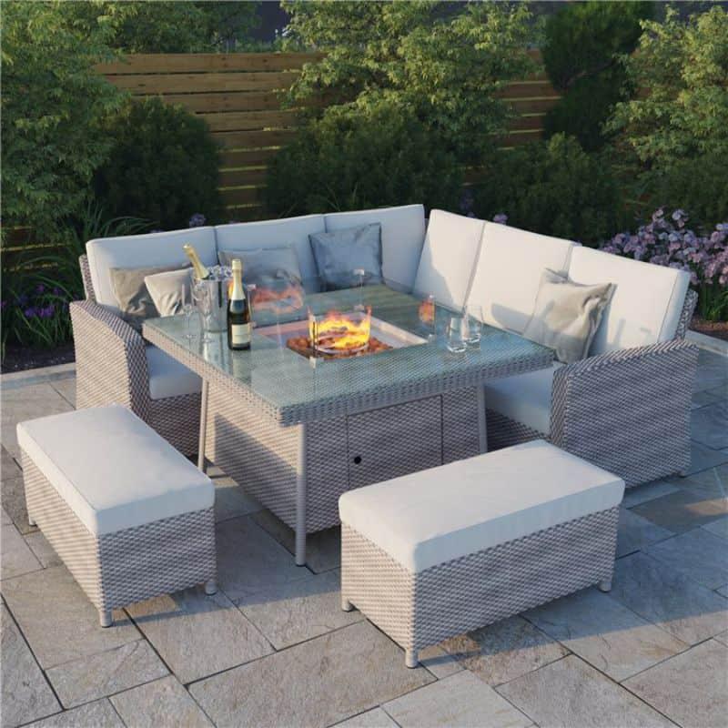 BillyOh Capri Rattan Garden Corner Sofa Set with Firepit Table
