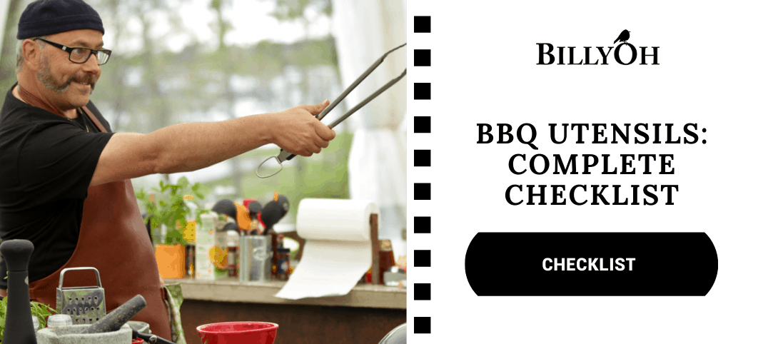 BBQ Utensils Checklist With Grillmaster Holding Tongs