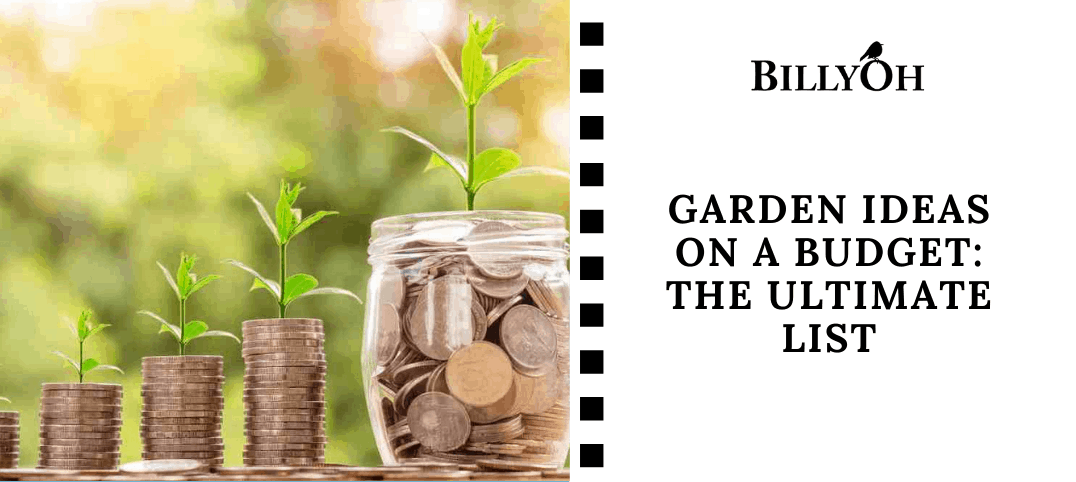 Garden Ideas on a budet with piles of money and a jar of money with shoots growing out of them