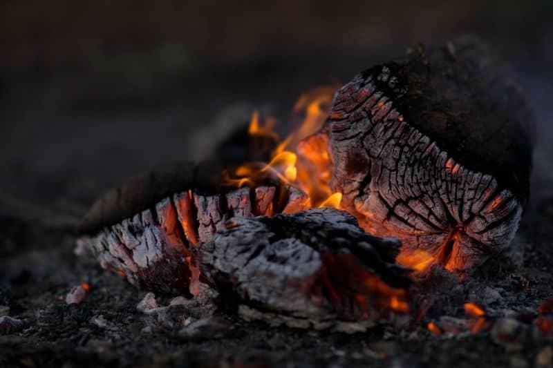white hot burning charcoal