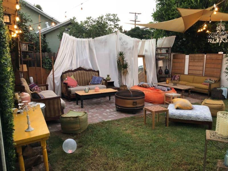 A vintage garden giving off a retro outdoor cinema vibe