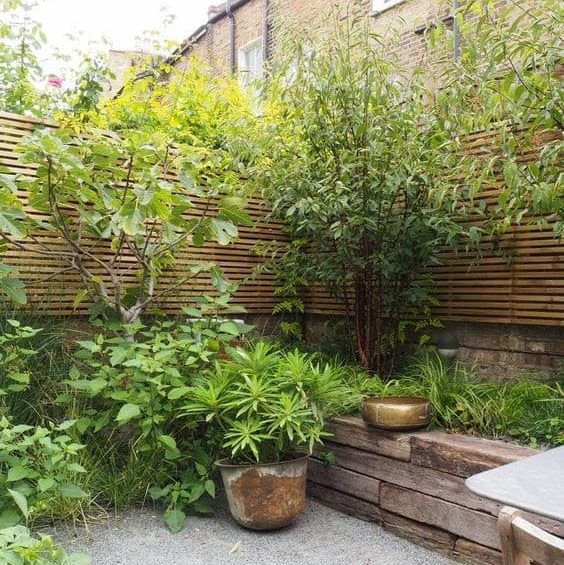 Climbing plants in the corners, adding extra privacy