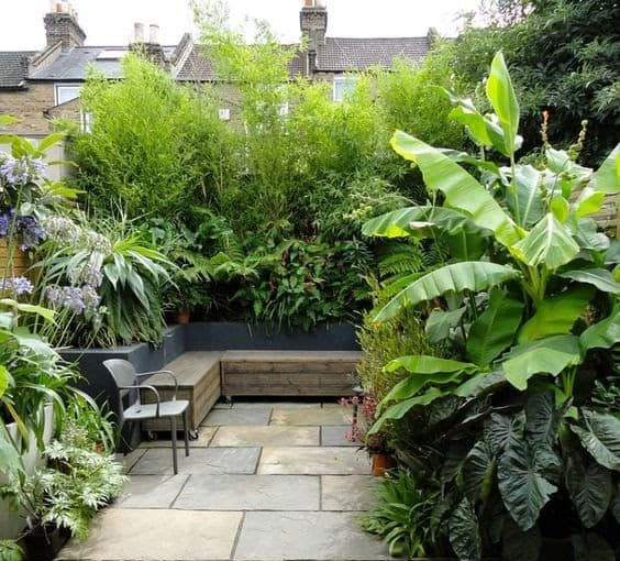 Urban-inspired hangout place with a variety of plants around