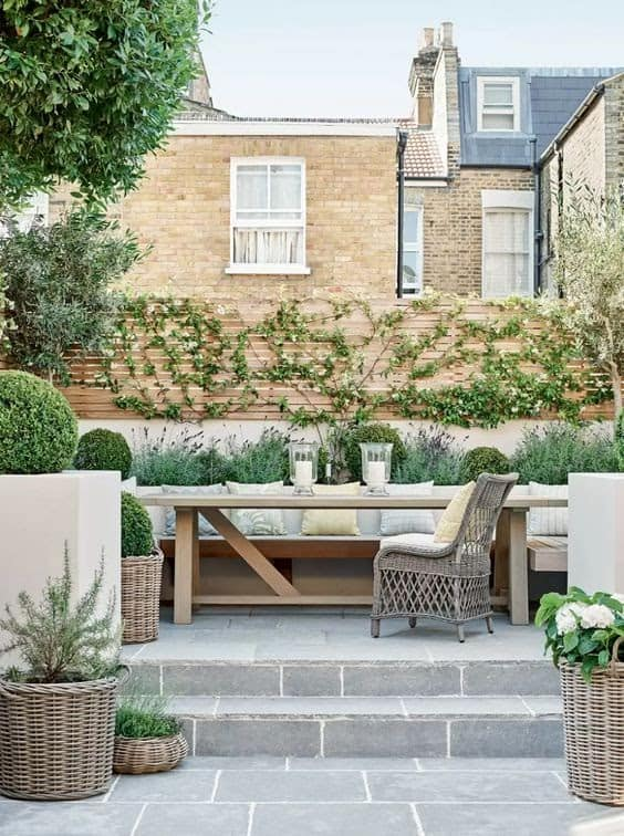 A simple outdoor space set-up with a comfy garden furniture set