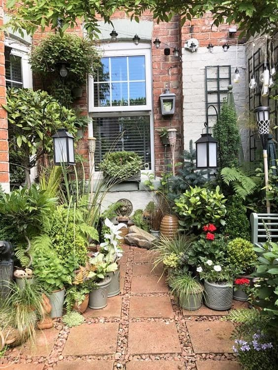 A terrace filled with plants, creating a magical hideaway