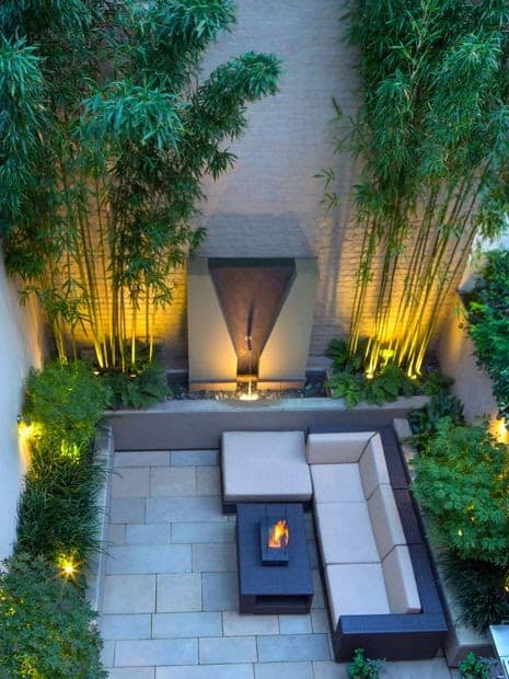 Bamboo trees and some targeted lighting, achieving an oriental finish