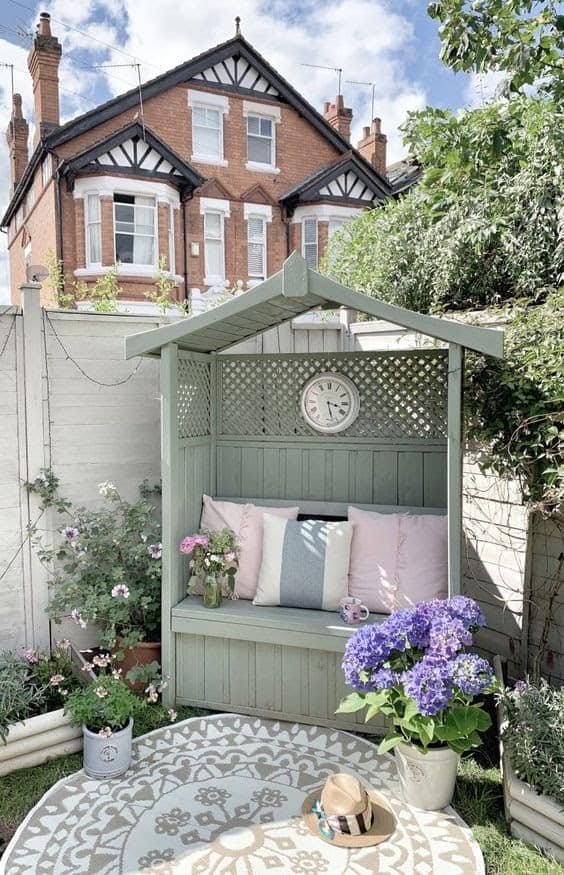 A small arbour creating a perfect cosy corner to relax in