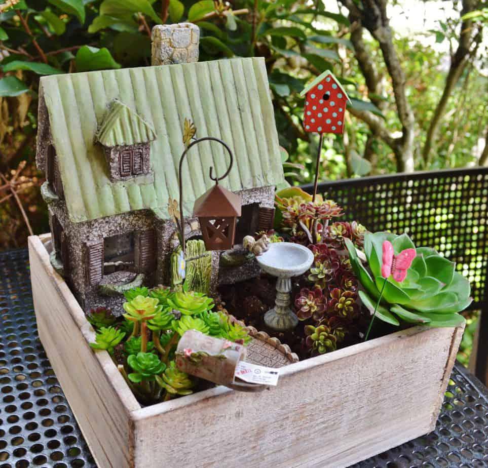 A mini garden fairy inside a wooden box