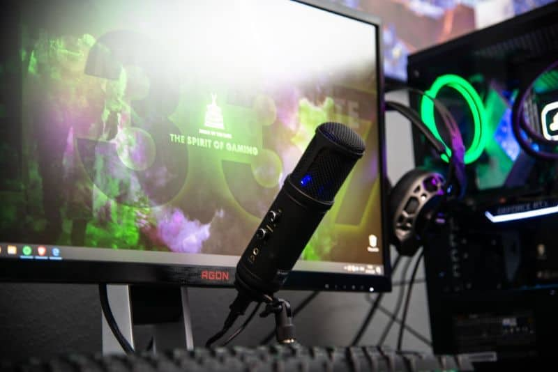 Gaming accessories, such as a microphone and a headphone.
