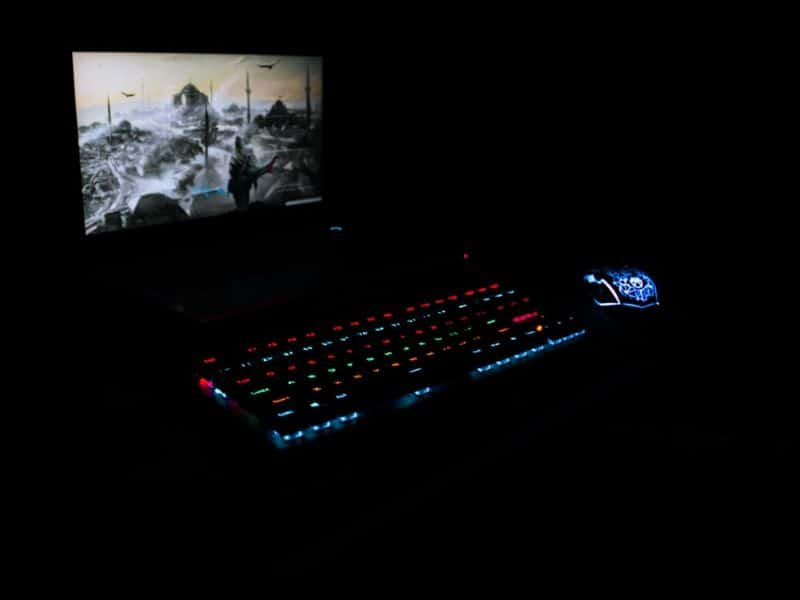 A wireless keyboard and mouse set with RGB backlighting