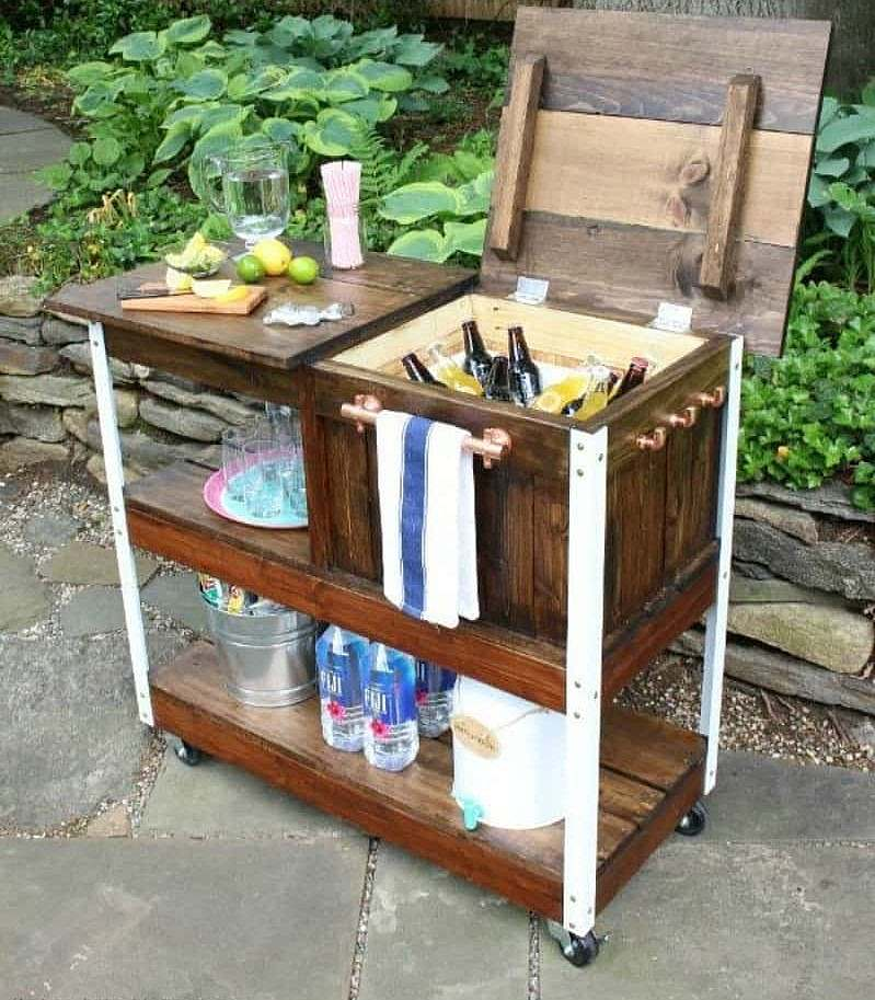 Wooden bar cart with storage