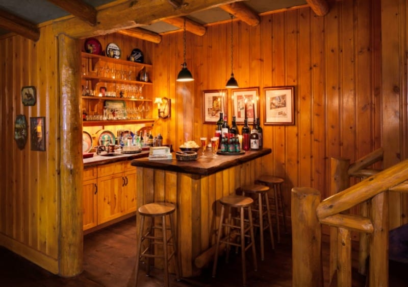 American style rustic-inspired shed pub interior
