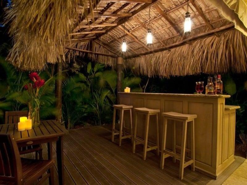 A tiki-bar inspired garden bar