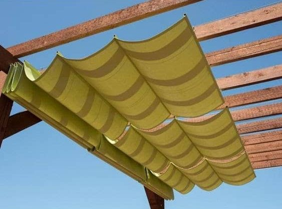 Slide-on-wire canopy in colour yellow