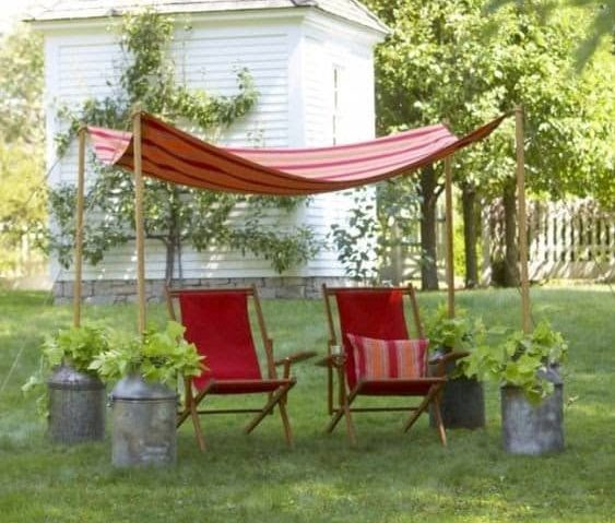 A simple canopy in the backyard provide the perfect seat in the shade