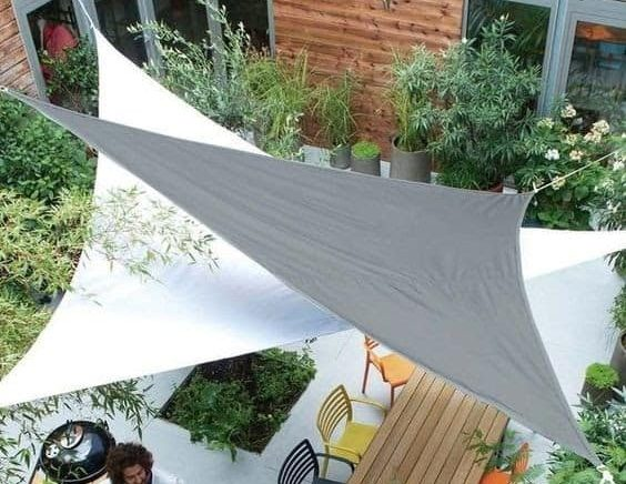 Two triangular canopies covering all the angles