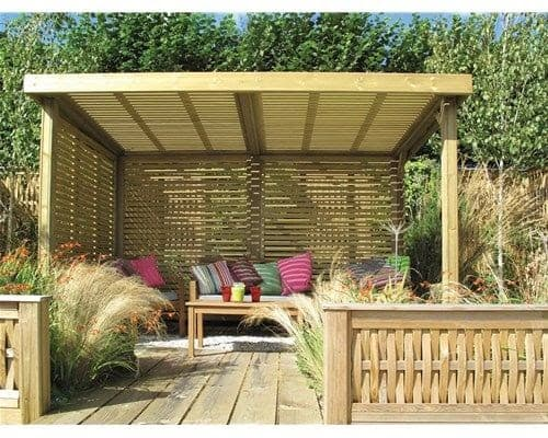 Wooden pergola with covers for shade and privacy