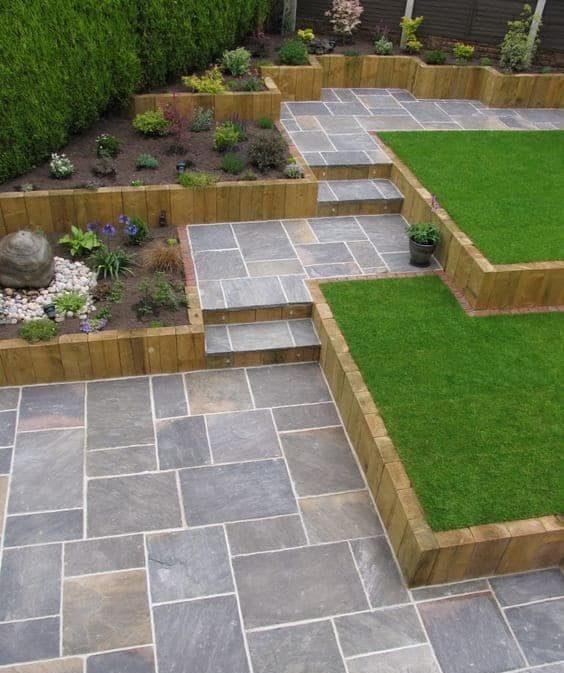 A 3-level garden with galaxy sandstone pavement