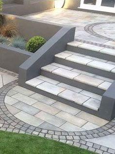 Modern-looking porcelain steps in grey