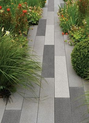 A wood looking stone garden paving
