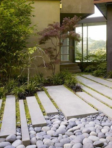 A Japanese zen garden inspired entrance
