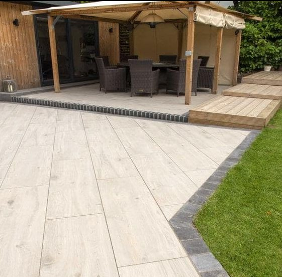 Porcelain and timber design combination, giving off a Mediterranean-inspired outdoor space
