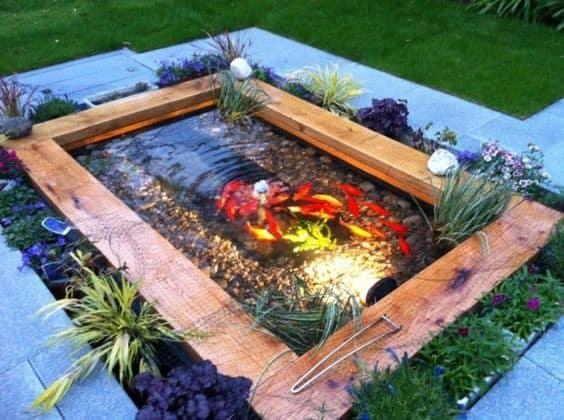Oak-wooden style garden pond