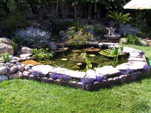 Paving stones as the pond's border