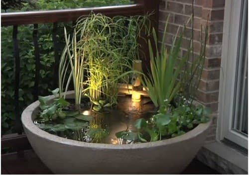 A mini zen garden in a raised tub pond b