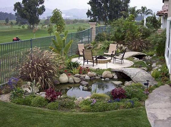 A simple social gathering space with a mini pond on the side