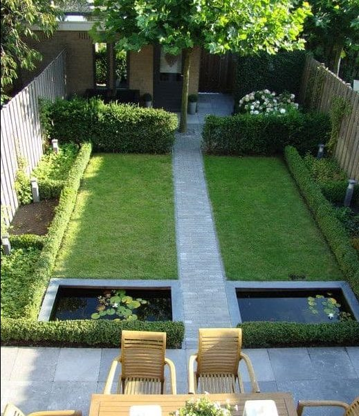 T-shaped backyard and garden pond