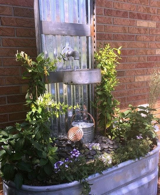 A DIY fish pond made from metal stock tank